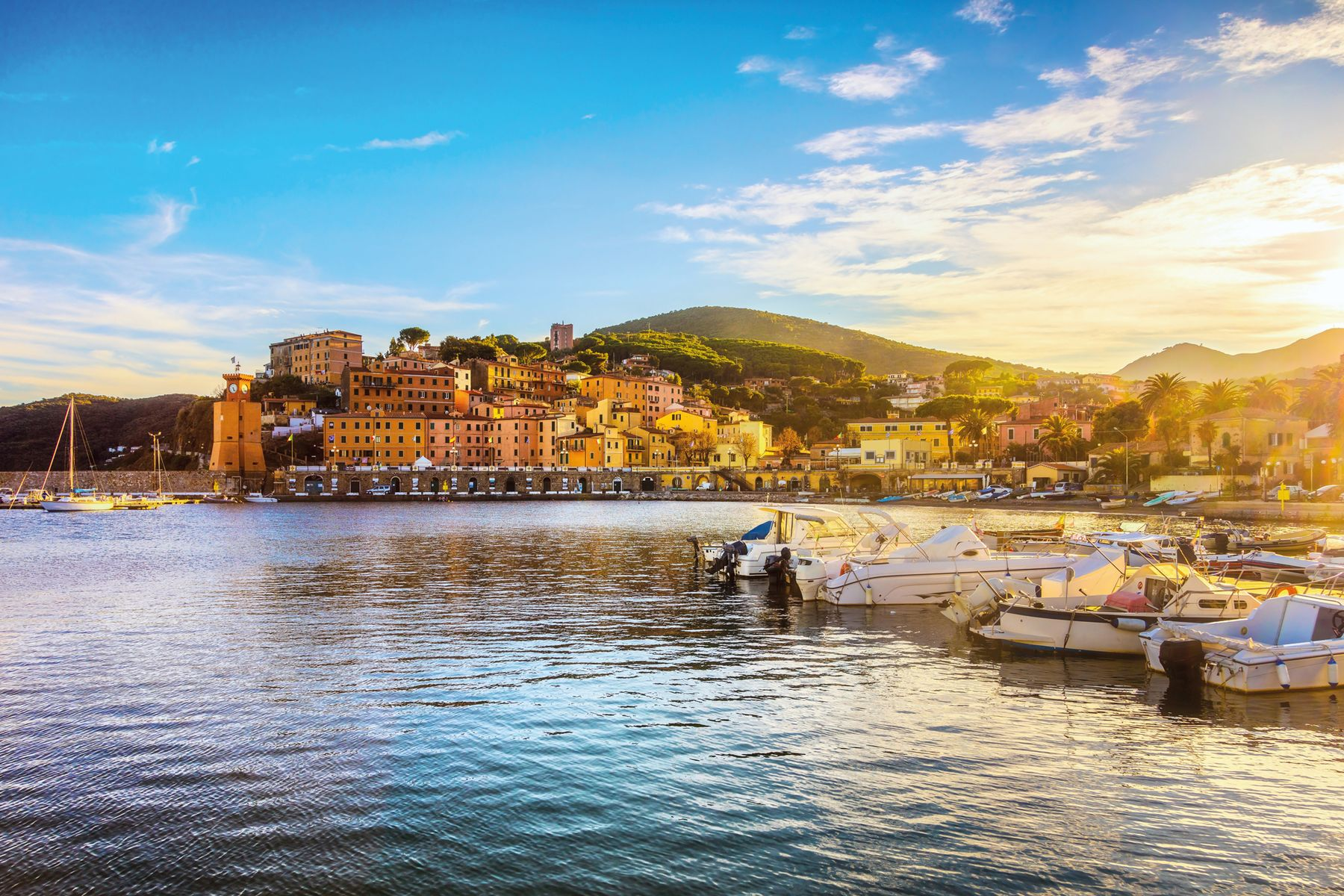 Elba island Rio Marina village bay. Bay beach and lighthouse. Tuscany Italy. 905445024 7000x4667